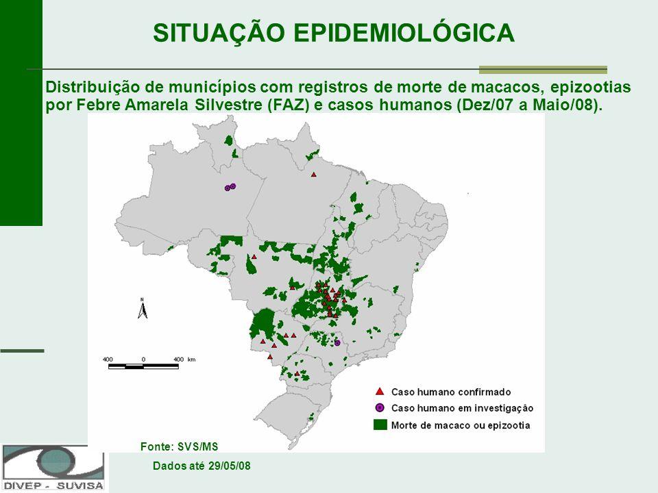 Renato Freitas Mª do Socorro Santos SITUAÇÃO EPIDEMIOLÓGICA Distribuição de municípios com registros de morte de macacos, epizootias por Febre Amarela