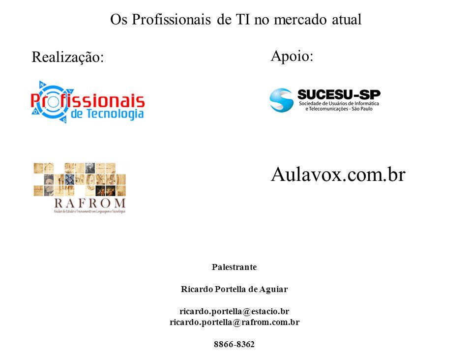 Os Profissionais de TI no mercado atual Palestrante Ricardo Portella de Aguiar ricardo.portella@estacio.br ricardo.portella@rafrom.com.br 8866-8362 Realização: Aulavox.com.br Apoio: