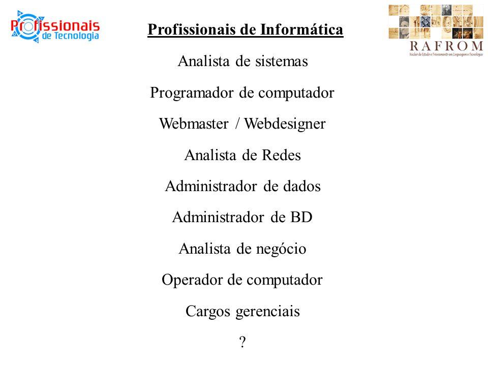 Profissionais de Informática Analista de sistemas Programador de computador Webmaster / Webdesigner Analista de Redes Administrador de dados Administrador de BD Analista de negócio Operador de computador Cargos gerenciais ?