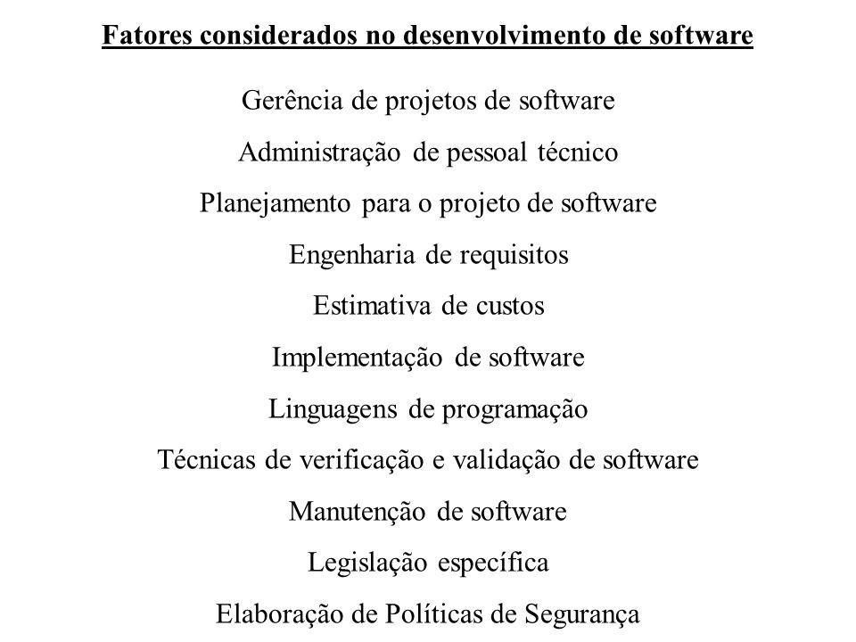 Gerência de projetos de software Administração de pessoal técnico Planejamento para o projeto de software Engenharia de requisitos Estimativa de custos Implementação de software Linguagens de programação Técnicas de verificação e validação de software Manutenção de software Legislação específica Elaboração de Políticas de Segurança Fatores considerados no desenvolvimento de software