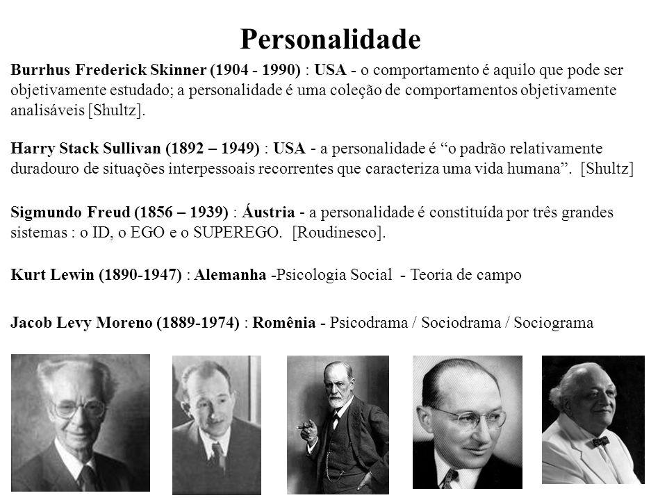 Sigmundo Freud (1856 – 1939) : Áustria - a personalidade é constituída por três grandes sistemas : o ID, o EGO e o SUPEREGO.