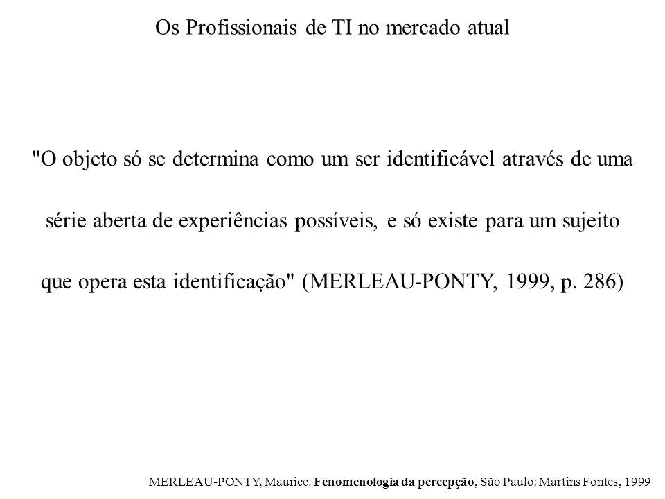 O objeto só se determina como um ser identificável através de uma série aberta de experiências possíveis, e só existe para um sujeito que opera esta identificação (MERLEAU-PONTY, 1999, p.