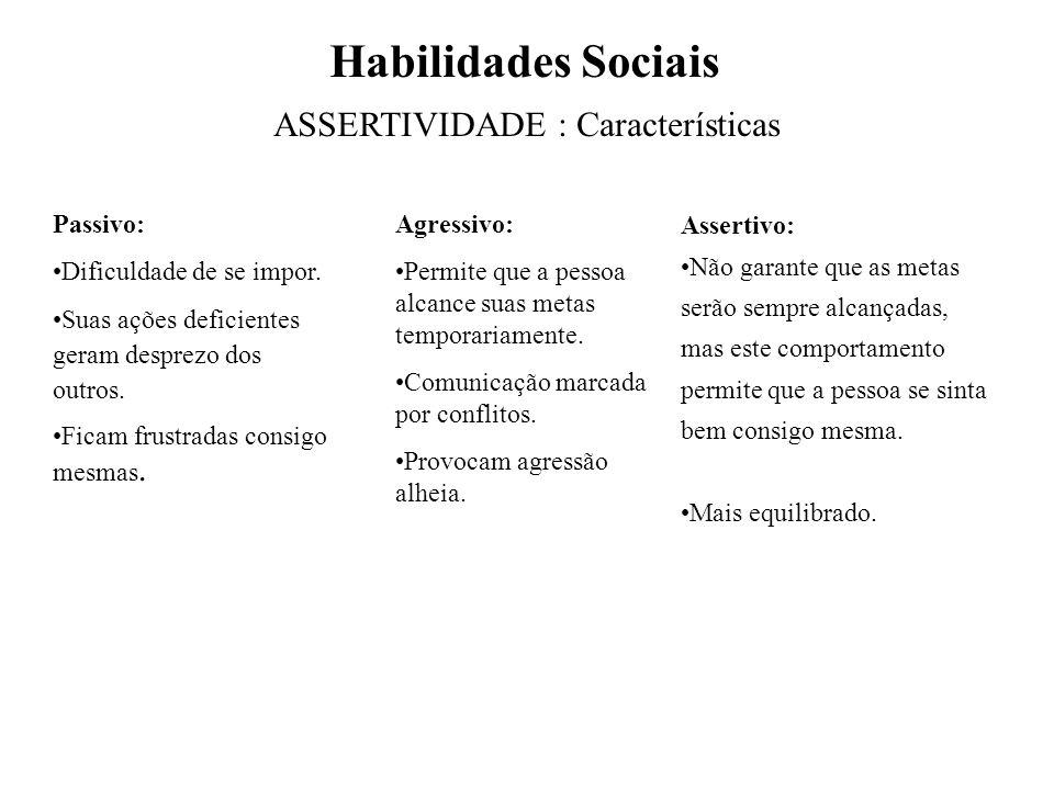 Habilidades Sociais •Assertividade – passivo / assertivo / agressivo •Capacidade reforçadora – elogiar / receber elogios •Sensibilidade perceptiva – C