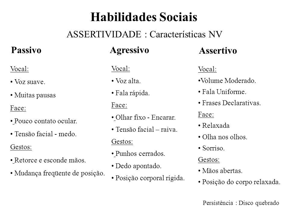 Habilidades Sociais ASSERTIVIDADE : Características NV Vocal: • Voz suave.