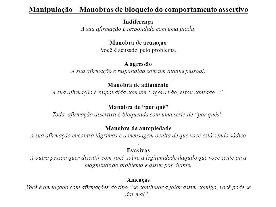 Manipulação – Manobras de bloqueio do comportamento assertivo Indiferença A sua afirmação é respondida com uma piada.