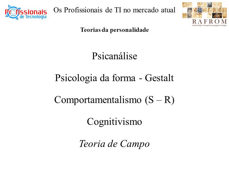 Teorias da personalidade Psicanálise Psicologia da forma - Gestalt Comportamentalismo (S – R) Cognitivismo Teoria de Campo Os Profissionais de TI no mercado atual
