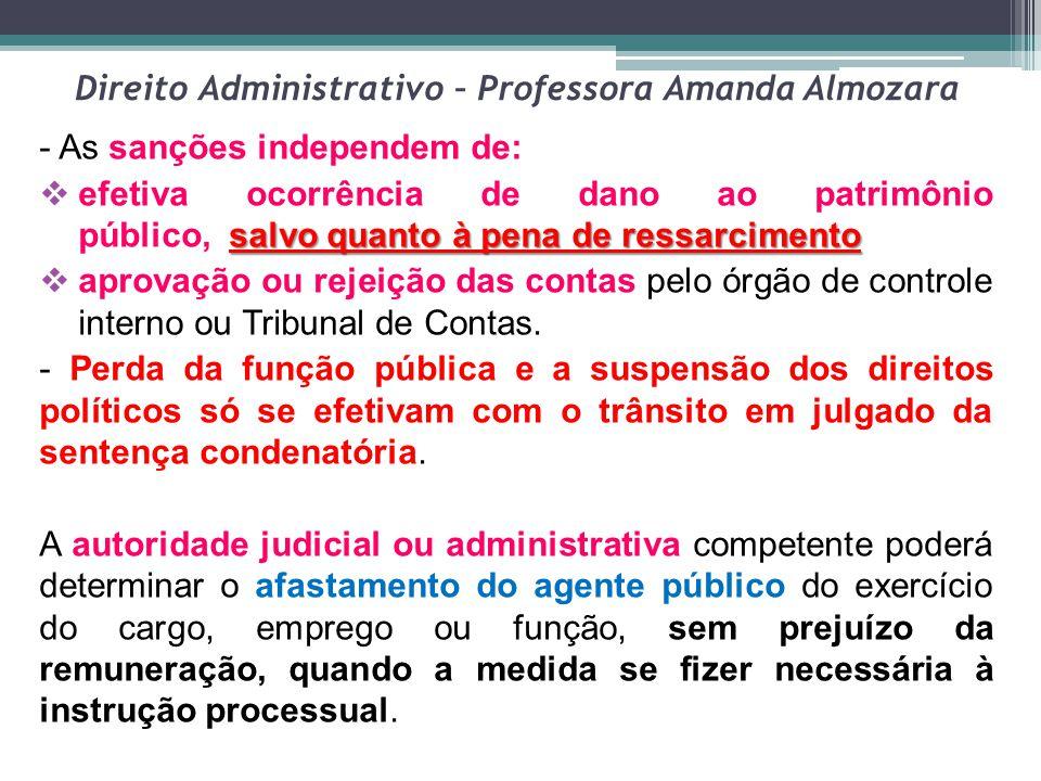 Direito Administrativo – Professora Amanda Almozara - As sanções independem de: salvo quanto à pena de ressarcimento  efetiva ocorrência de dano ao p