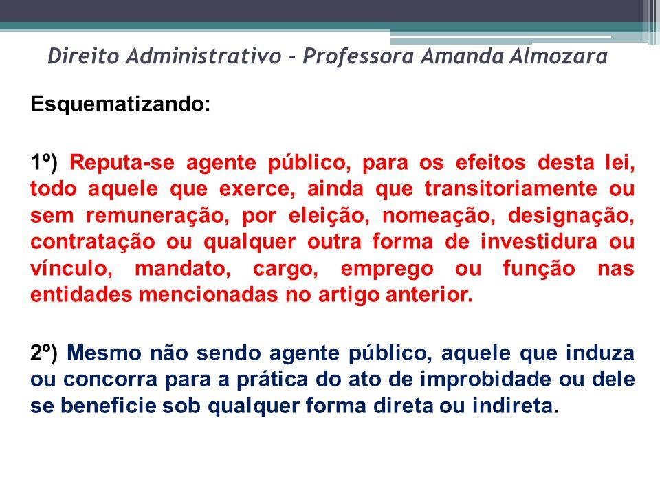 Direito Administrativo – Professora Amanda Almozara Esquematizando: 1º) Reputa-se agente público, para os efeitos desta lei, todo aquele que exerce, a