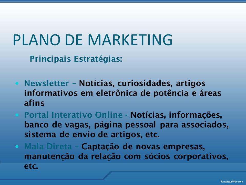 Principais Estratégias:  Newsletter – Notícias, curiosidades, artigos informativos em eletrônica de potência e áreas afins  Portal Interativo Online