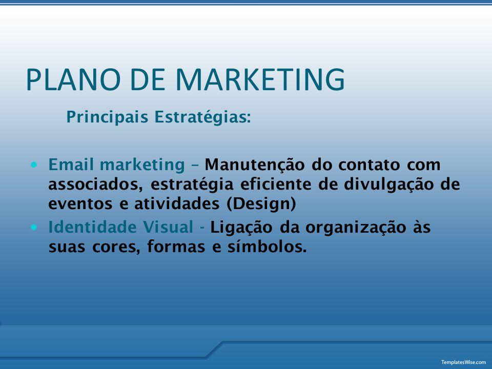 PLANO DE MARKETING Principais Estratégias:  Email marketing – Manutenção do contato com associados, estratégia eficiente de divulgação de eventos e a