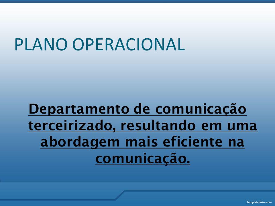 PLANO OPERACIONAL Departamento de comunicação terceirizado, resultando em uma abordagem mais eficiente na comunicação.