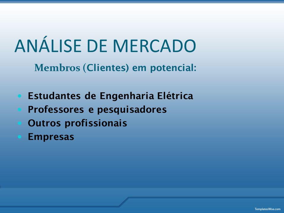 Membros ( Clientes) em potencial:  Estudantes de Engenharia Elétrica  Professores e pesquisadores  Outros profissionais  Empresas