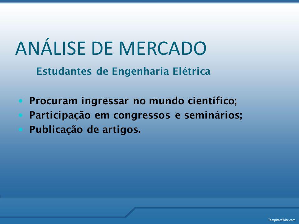 ANÁLISE DE MERCADO Estudantes de Engenharia Elétrica  Procuram ingressar no mundo científico;  Participação em congressos e seminários;  Publicação
