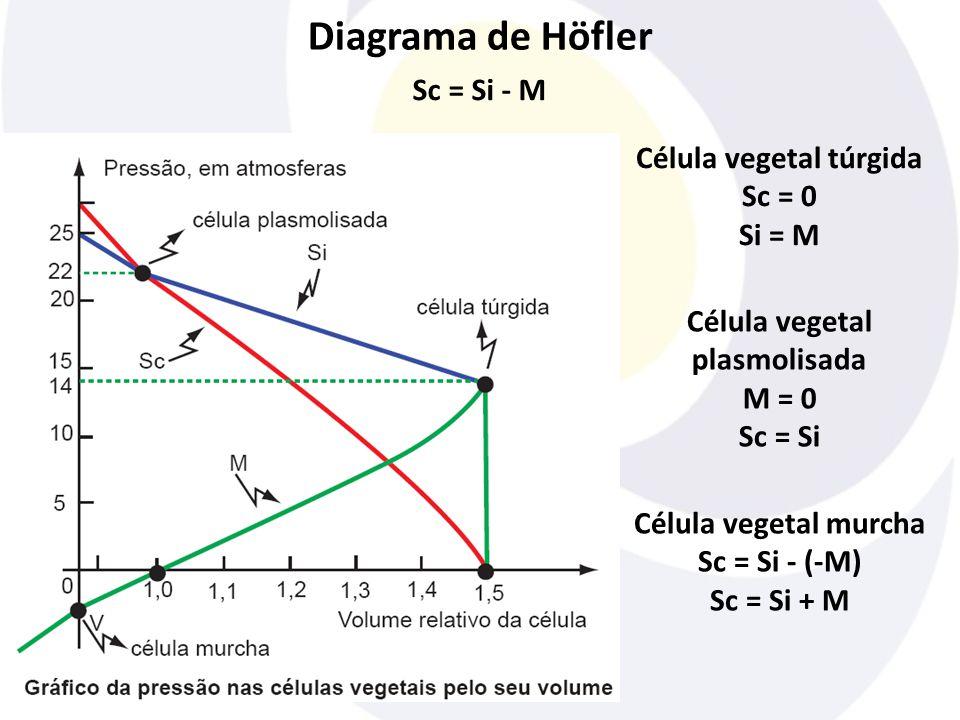 Diagrama de Höfler Sc = Si - M Célula vegetal túrgida Sc = 0 Si = M Célula vegetal plasmolisada M = 0 Sc = Si Célula vegetal murcha Sc = Si - (-M) Sc
