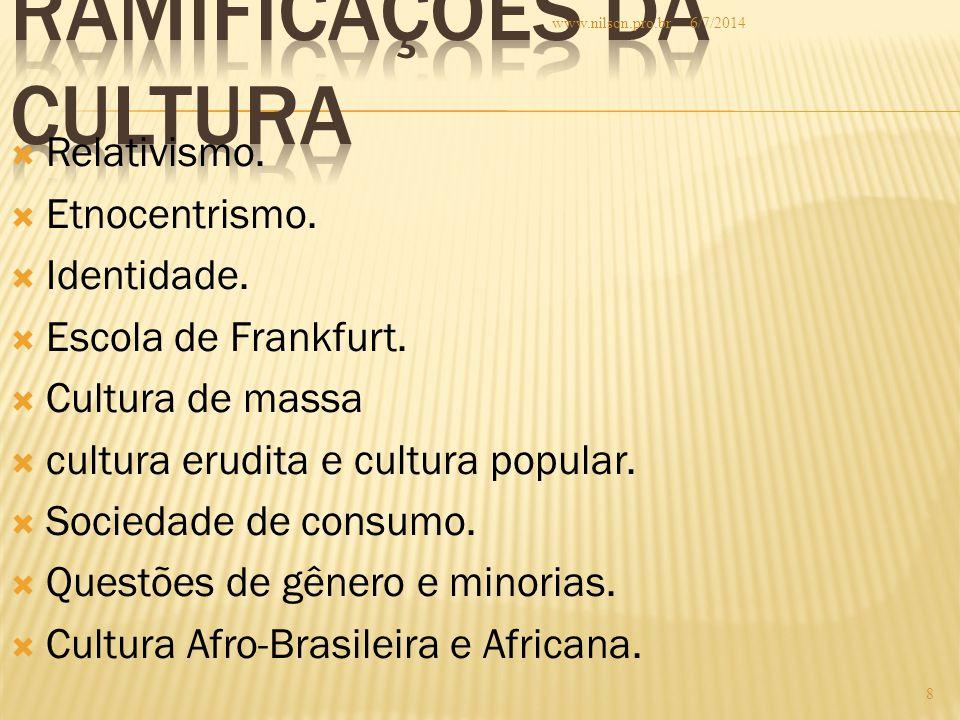  Relativismo.  Etnocentrismo.  Identidade.  Escola de Frankfurt.  Cultura de massa  cultura erudita e cultura popular.  Sociedade de consumo. 