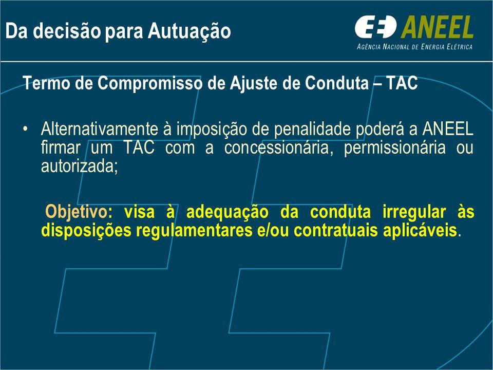 Termo de Compromisso de Ajuste de Conduta – TAC •Alternativamente à imposição de penalidade poderá a ANEEL firmar um TAC com a concessionária, permiss