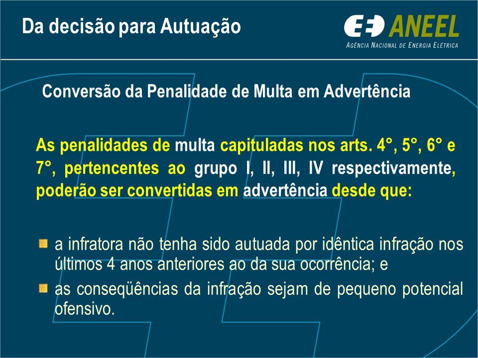 Da decisão para Autuação Conversão da Penalidade de Multa em Advertência As penalidades de multa capituladas nos arts. 4°, 5°, 6° e 7°, pertencentes a