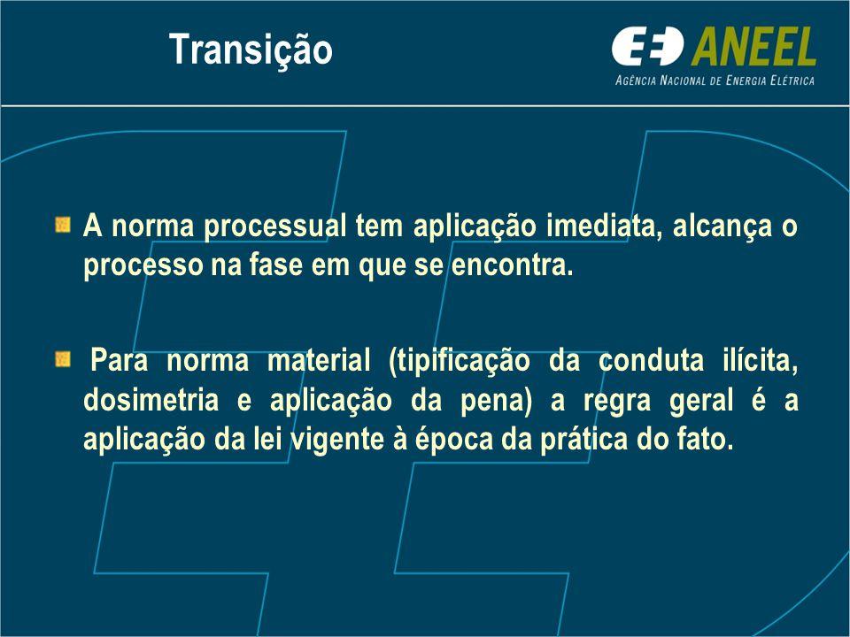 Transição A norma processual tem aplicação imediata, alcança o processo na fase em que se encontra. Para norma material (tipificação da conduta ilícit