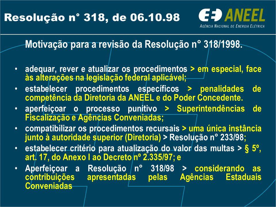 Motivação para a revisão da Resolução n° 318/1998. • adequar, rever e atualizar os procedimentos > em especial, face às alterações na legislação feder