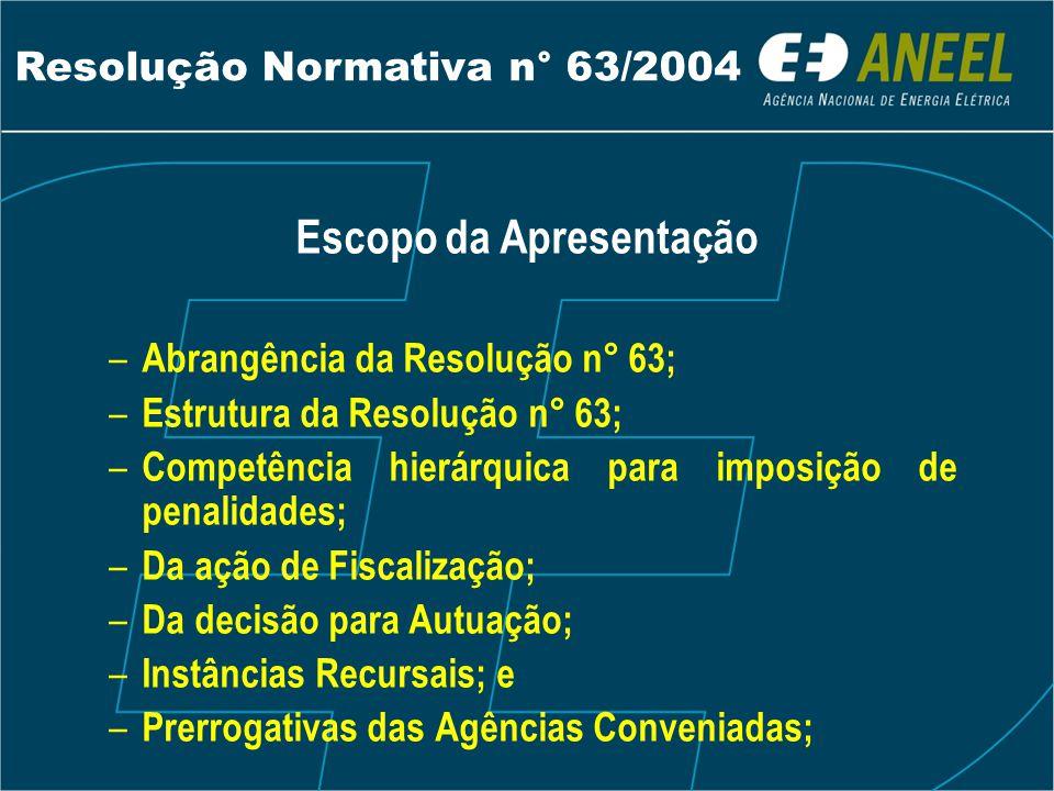 Escopo da Apresentação – Abrangência da Resolução n° 63; – Estrutura da Resolução n° 63; – Competência hierárquica para imposição de penalidades; – Da