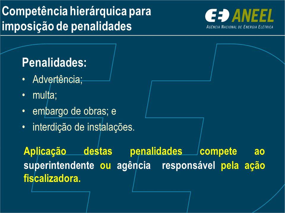 Penalidades: •Advertência; •multa; •embargo de obras; e •interdição de instalações. Aplicação destas penalidades compete ao superintendente ou agência
