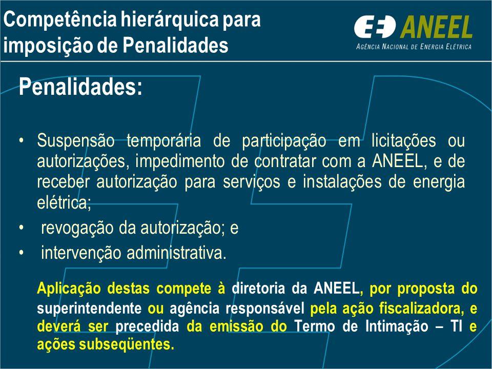 Aplicação destas compete à diretoria da ANEEL, por proposta do superintendente ou agência responsável pela ação fiscalizadora, e deverá ser precedida