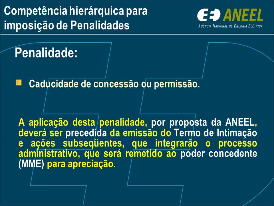 A aplicação desta penalidade, por proposta da ANEEL, deverá ser precedida da emissão do Termo de Intimação e ações subseqüentes, que integrarão o proc