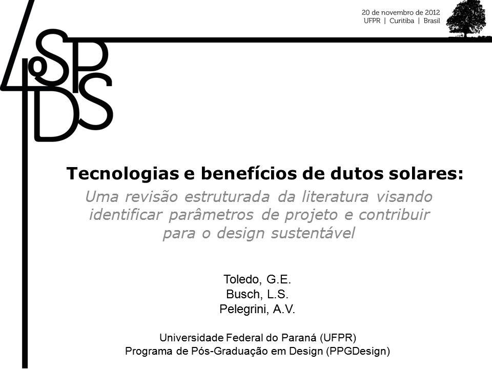 Tecnologias e benefícios de dutos solares: Uma revisão estruturada da literatura visando identificar parâmetros de projeto e contribuir para o design