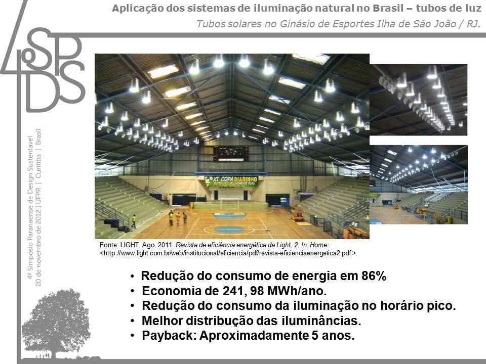 Aplicação dos sistemas de iluminação natural no Brasil – tubos de luz Tubos solares no Ginásio de Esportes Ilha de São João / RJ. • Redução do consumo