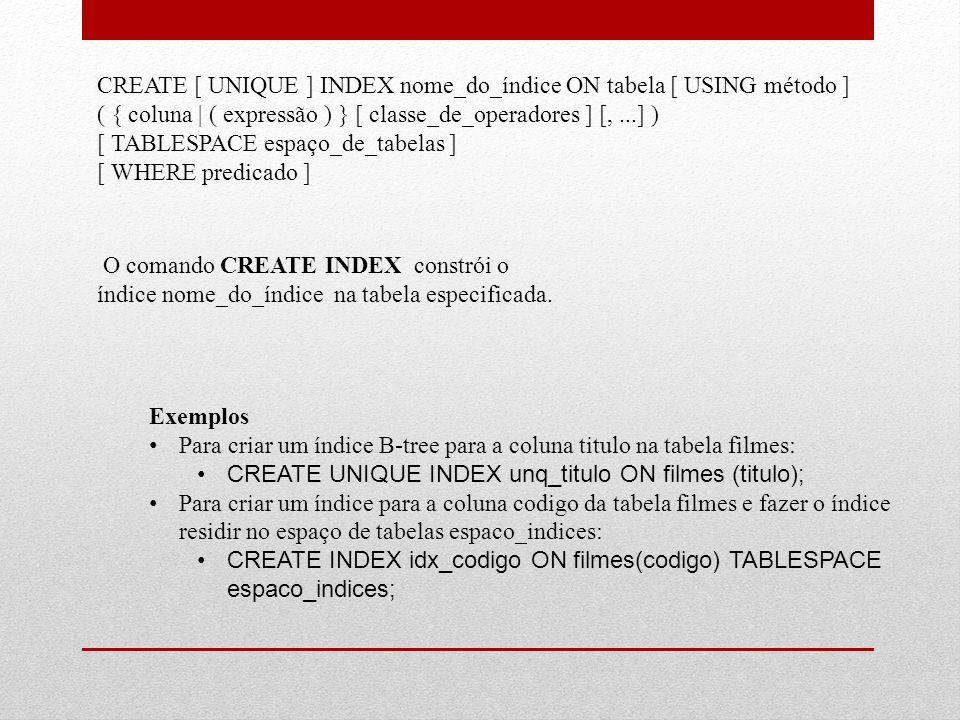 CREATE [ UNIQUE ] INDEX nome_do_índice ON tabela [ USING método ] ( { coluna | ( expressão ) } [ classe_de_operadores ] [,...] ) [ TABLESPACE espaço_d