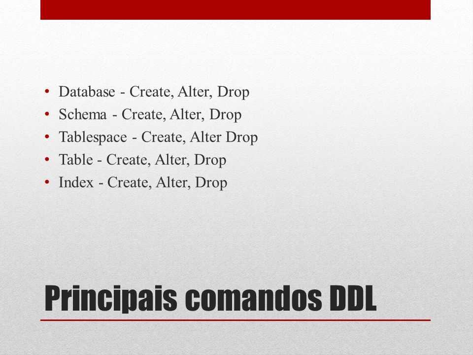 ALTER TABLESPACE nome RENAME TO novo_nome ALTER TABLESPACE nome OWNER TO novo_dono O comando ALTER TABLESPACE altera a definição de um espaço de tabelas.