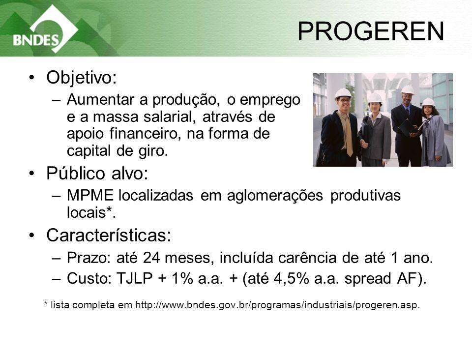11 PROGEREN •Objetivo: –Aumentar a produção, o emprego e a massa salarial, através de apoio financeiro, na forma de capital de giro.