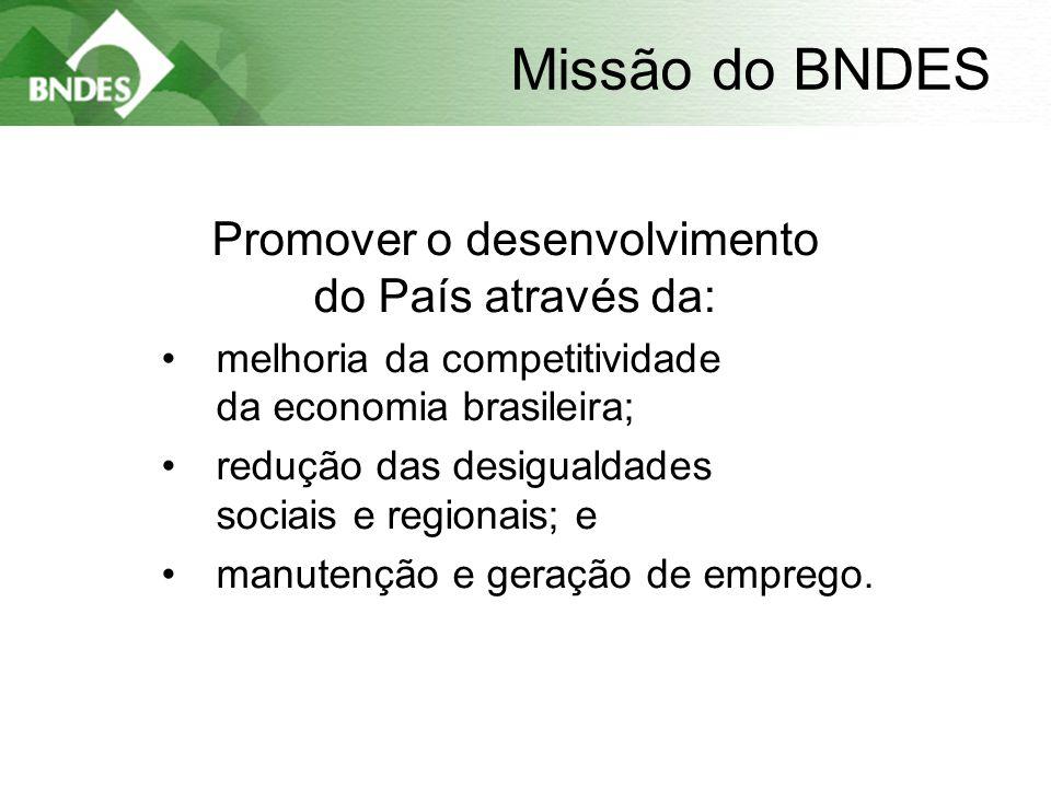 2 Missão do BNDES Promover o desenvolvimento do País através da: •melhoria da competitividade da economia brasileira; •redução das desigualdades sociais e regionais; e •manutenção e geração de emprego.