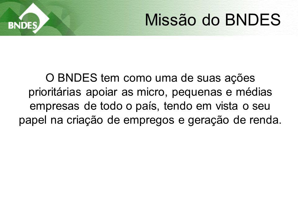 3 Missão do BNDES O BNDES tem como uma de suas ações prioritárias apoiar as micro, pequenas e médias empresas de todo o país, tendo em vista o seu papel na criação de empregos e geração de renda.