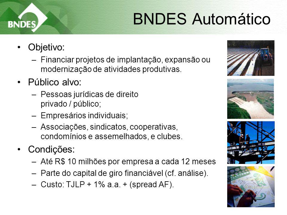6 BNDES Automático •Objetivo: –Financiar projetos de implantação, expansão ou modernização de atividades produtivas.