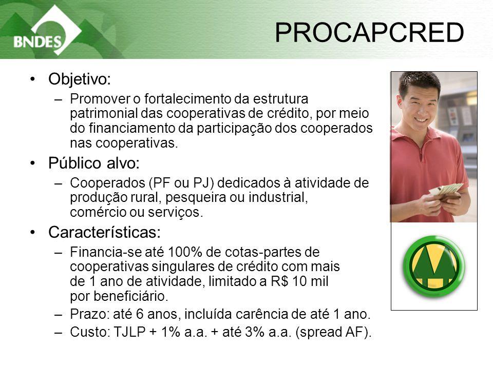 7 PROCAPCRED •Objetivo: –Promover o fortalecimento da estrutura patrimonial das cooperativas de crédito, por meio do financiamento da participação dos cooperados nas cooperativas.