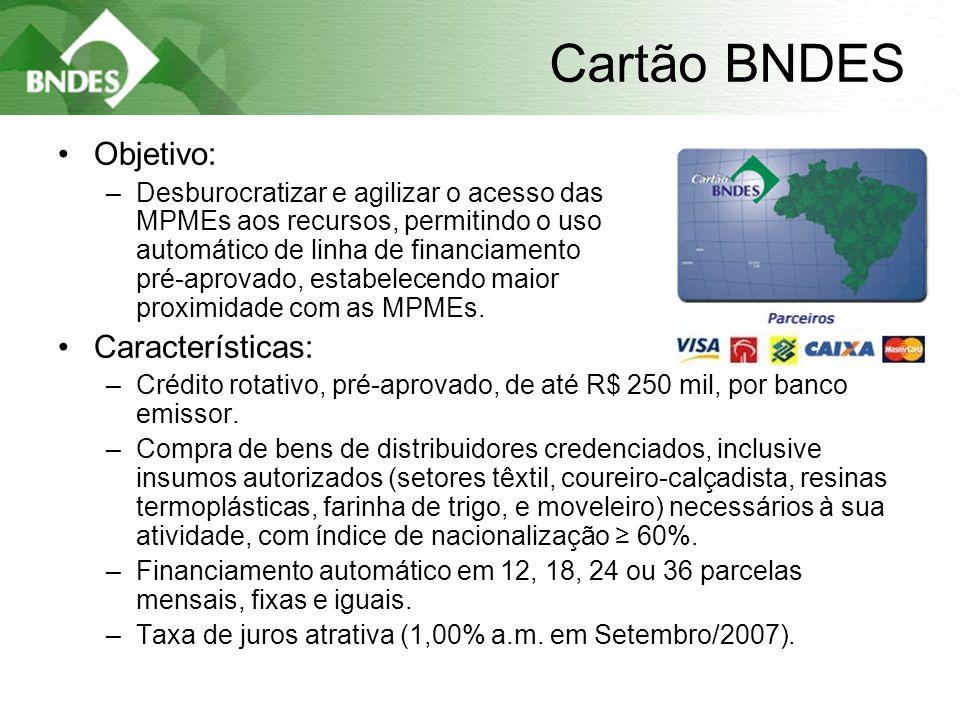 8 Cartão BNDES •Objetivo: –Desburocratizar e agilizar o acesso das MPMEs aos recursos, permitindo o uso automático de linha de financiamento pré-aprovado, estabelecendo maior proximidade com as MPMEs.