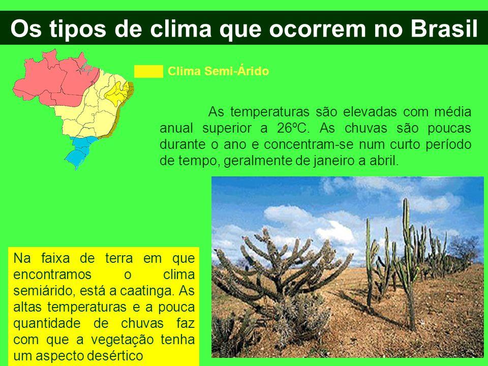 Os tipos de clima que ocorrem no Brasil Clima Semi-Árido As temperaturas são elevadas com média anual superior a 26ºC. As chuvas são poucas durante o