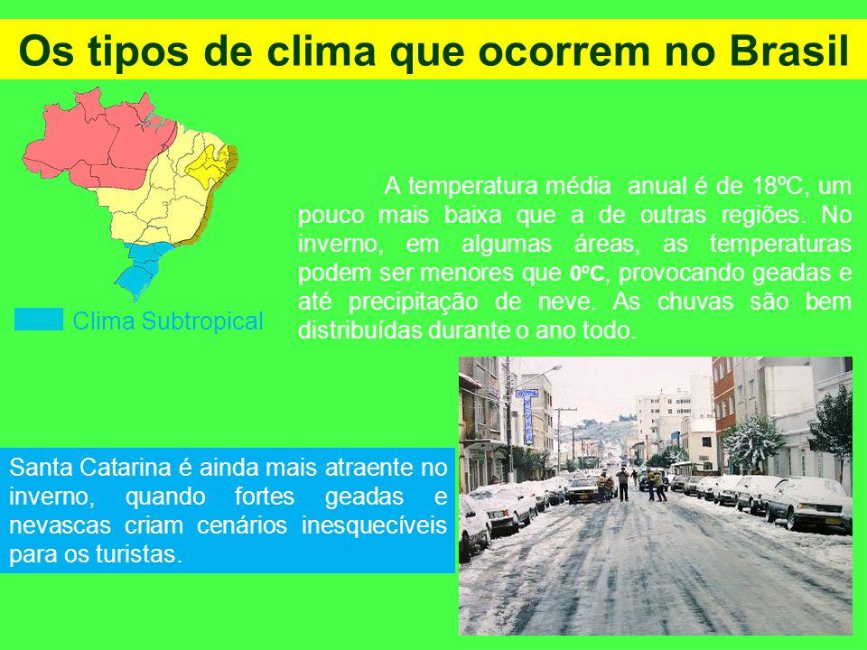 Os tipos de clima que ocorrem no Brasil Clima Subtropical A temperatura média anual é de 18ºC, um pouco mais baixa que a de outras regiões. No inverno