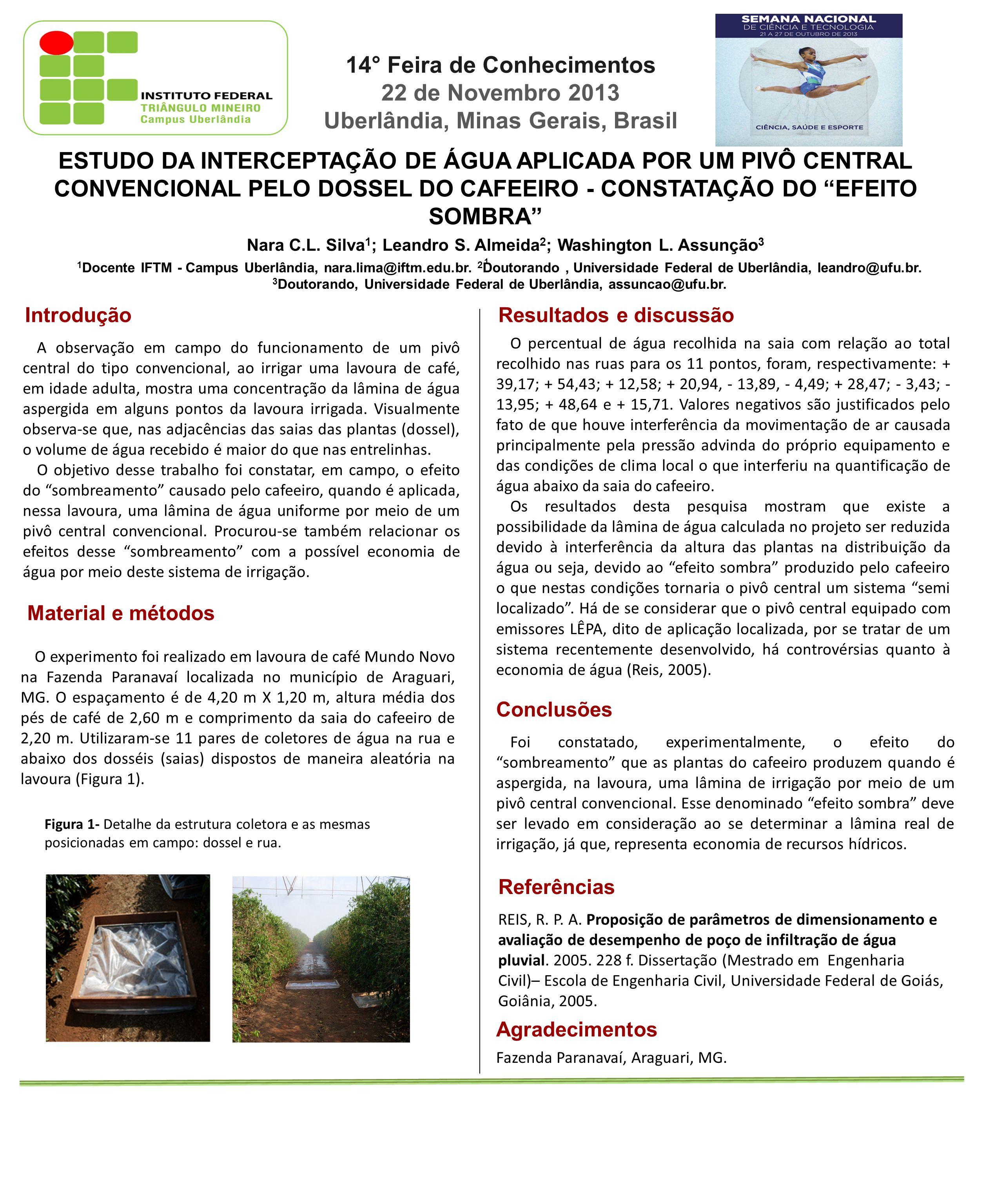 ESTUDO DA INTERCEPTAÇÃO DE ÁGUA APLICADA POR UM PIVÔ CENTRAL CONVENCIONAL PELO DOSSEL DO CAFEEIRO - CONSTATAÇÃO DO EFEITO SOMBRA Nara C.L.