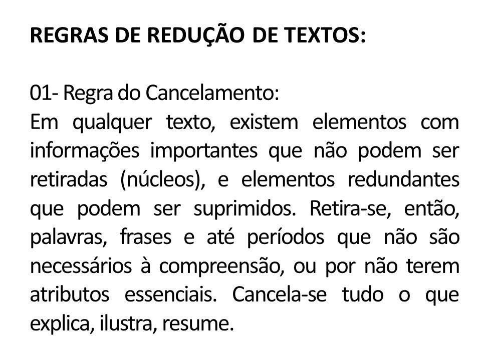 REGRAS DE REDUÇÃO DE TEXTOS: 01- Regra do Cancelamento: Em qualquer texto, existem elementos com informações importantes que não podem ser retiradas (