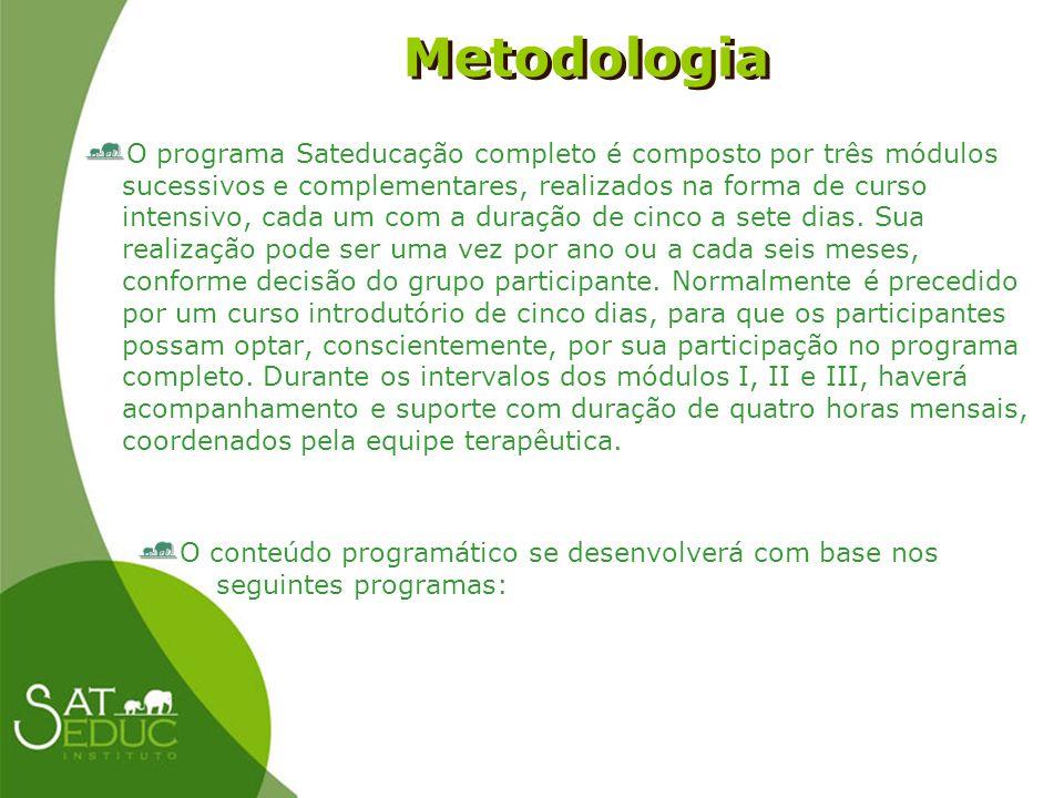 Metodologia Metodologia O programa Sateducação completo é composto por três módulos sucessivos e complementares, realizados na forma de curso intensiv