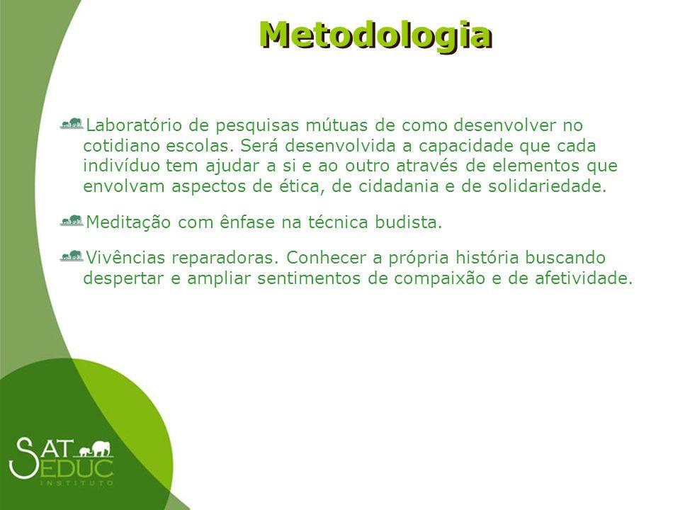 Metodologia Metodologia Laboratório de pesquisas mútuas de como desenvolver no cotidiano escolas. Será desenvolvida a capacidade que cada indivíduo te