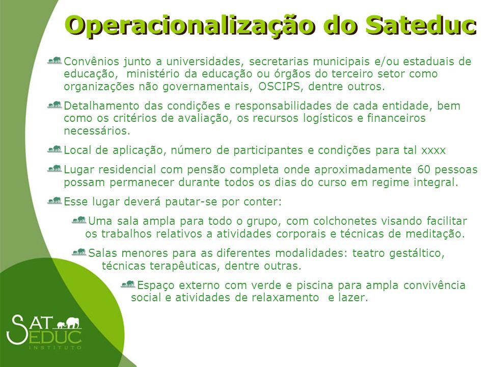 Operacionalização do Sateduc Operacionalização do Sateduc Convênios junto a universidades, secretarias municipais e/ou estaduais de educação, ministér