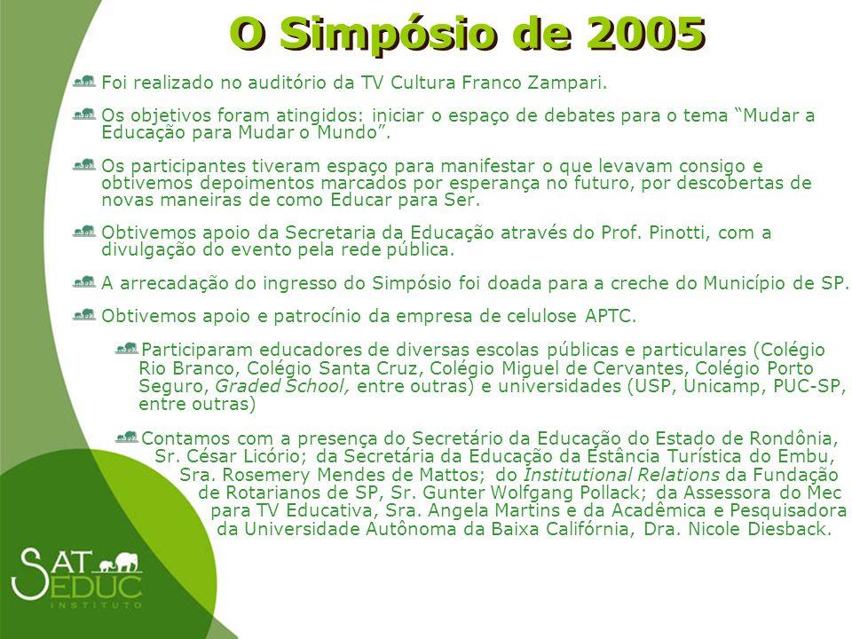 O Simpósio de 2005 O Simpósio de 2005 Foi realizado no auditório da TV Cultura Franco Zampari. Os objetivos foram atingidos: iniciar o espaço de debat