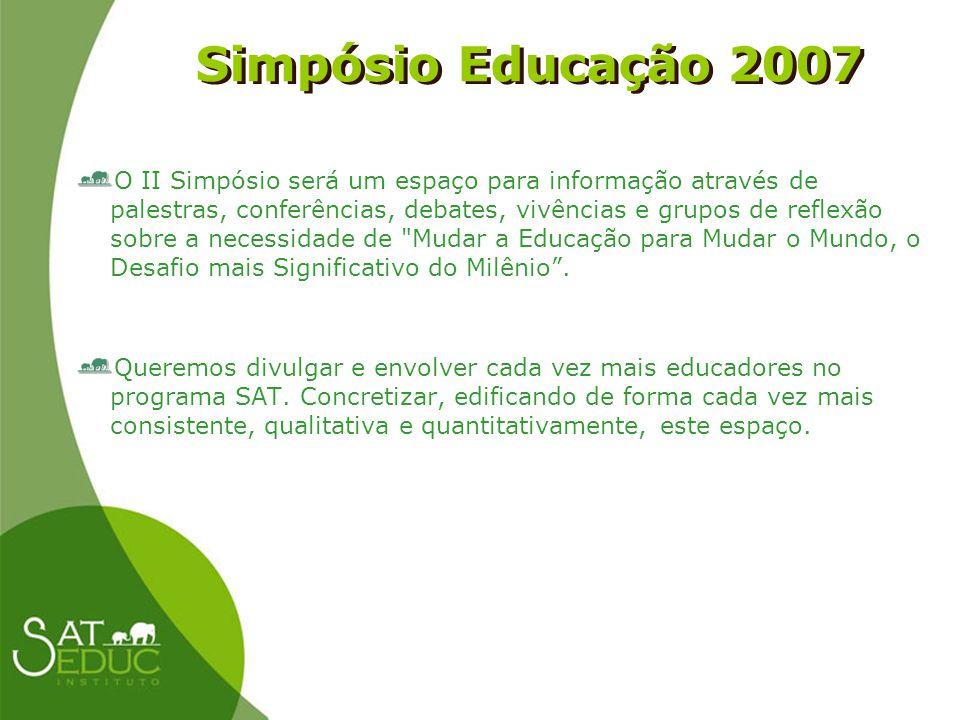 Simpósio Educação 2007 Simpósio Educação 2007 O II Simpósio será um espaço para informação através de palestras, conferências, debates, vivências e gr