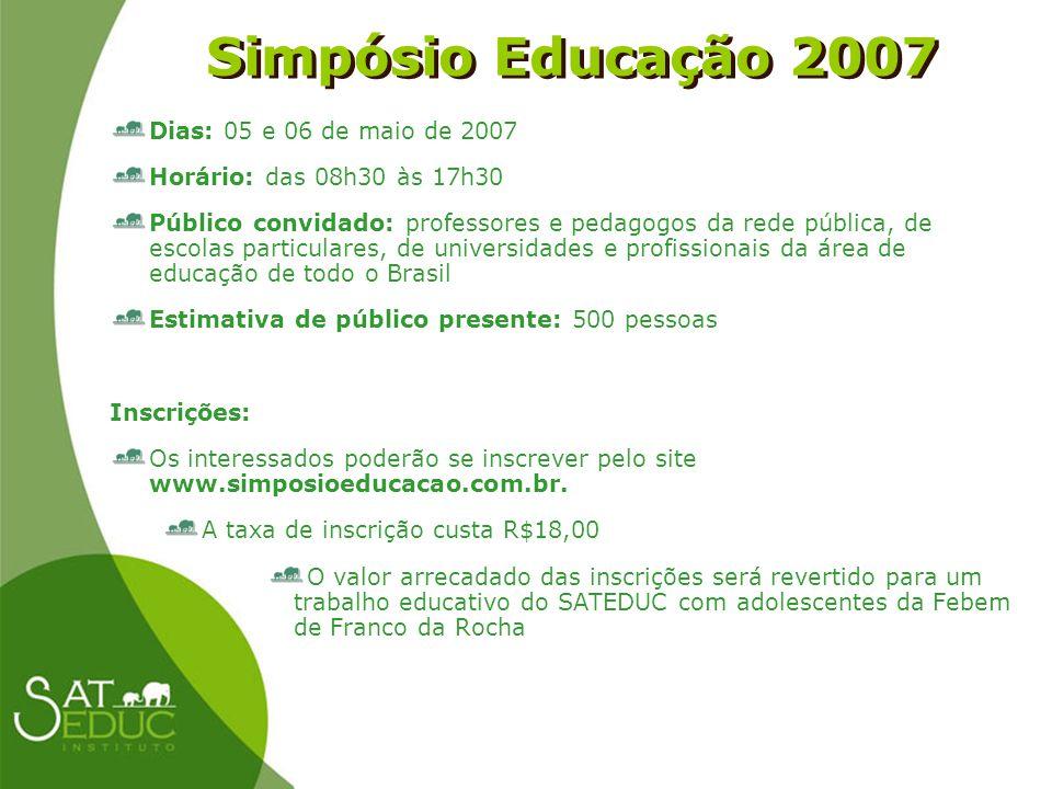 Simpósio Educação 2007 Simpósio Educação 2007 Dias: 05 e 06 de maio de 2007 Horário: das 08h30 às 17h30 Público convidado: professores e pedagogos da