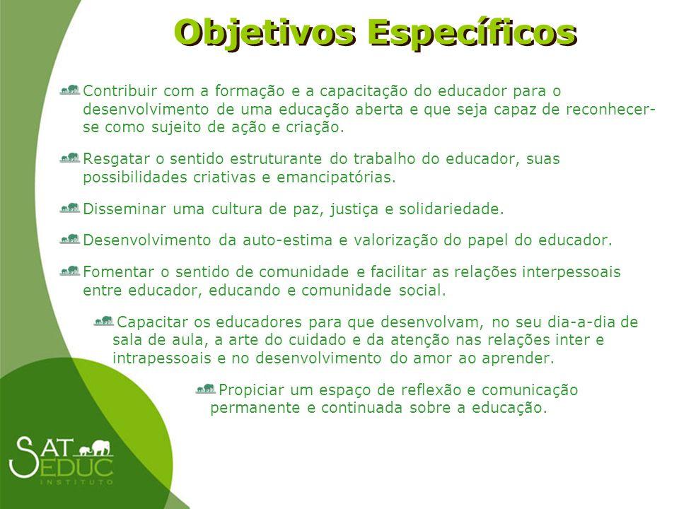 Objetivos Específicos Objetivos Específicos Contribuir com a formação e a capacitação do educador para o desenvolvimento de uma educação aberta e que