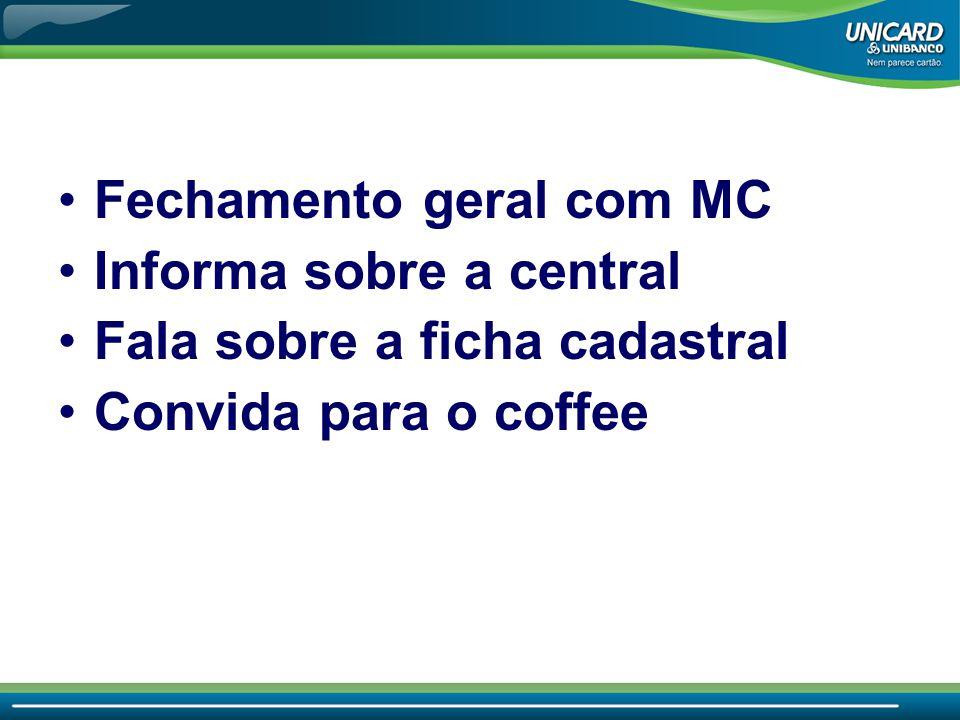 •Fechamento geral com MC •Informa sobre a central •Fala sobre a ficha cadastral •Convida para o coffee