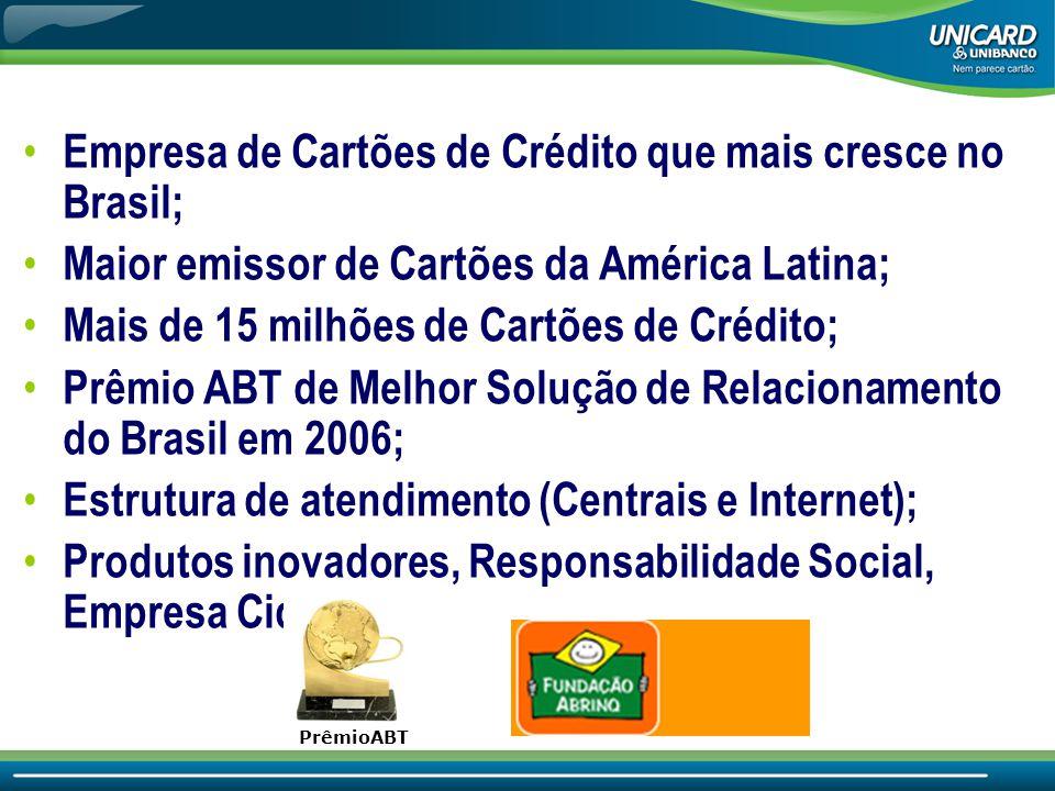• Empresa de Cartões de Crédito que mais cresce no Brasil; • Maior emissor de Cartões da América Latina; • Mais de 15 milhões de Cartões de Crédito; • Prêmio ABT de Melhor Solução de Relacionamento do Brasil em 2006; • Estrutura de atendimento (Centrais e Internet); • Produtos inovadores, Responsabilidade Social, Empresa Cidadã.